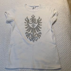 White Tee with silver beads